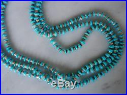 Vintage Turquoise Shell Heishi Santo Domingo 3 Strand Necklace 31 Inches 59 Gm