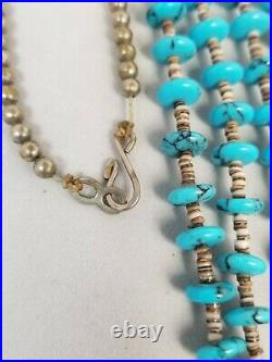 Vintage Turquoise and Heishi Necklace Sterling Silver Navajo or Santo Domingo
