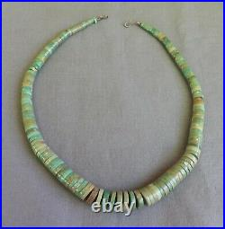Vintage Untreated Green Turquoise Heishi Choker Necklace