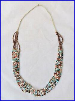 Vintage Zuni 5-Strand Heishi Necklace Turquoise Coral Shell