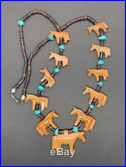 Vintage Zuni Hand Carved Turquoise And Agate Horse Heishi Beaded Fetish Necklace