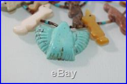 Vintage Zuni Turquoise Eagle FETISH Double Strand Silver Cones Necklace Heishi