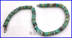 Vintage sterling silver clasp & turquoise Heishi bead necklace