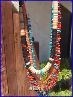 Vntg. Santo Domingo Lot Of 4 Turquoise Coral Shell Heishi Choker Necklaces