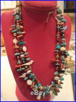 Vtg 70's Native Amer Turquoise Coral MOP Fetish Heishi Bead Necklace & Earrings
