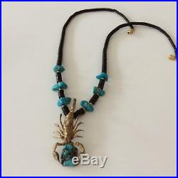 Vtg 70s Dead Old Pawn Museum Quality Turquoise Brass Scorpion Heishi Necklace