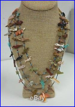 Vtg Fetish Heishi 3 Strand Necklace Sterling Silver Turquoise Coral Onyx Zuni