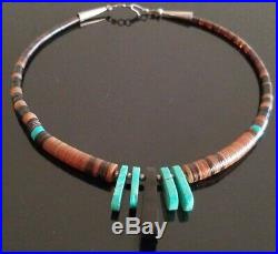 Vtg Native American Heishi Turquoise Disc Shell Sterling Silver Necklace Rare