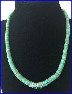 Vtg Native American Navajo Sterling Silver Graduated Turquoise Heishi Necklace