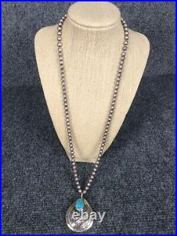 Vtg Native American Navajo sterling Silver Bench Beads turquoise necklace