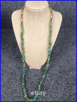 Vtg Native American Navajo turquoise nuggets Silver Bench Bead necklace