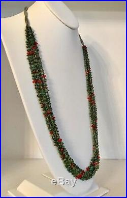 Vtg Native American Turquoise Heishi Shell Coral 6-Strand Necklace Navajo