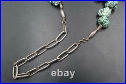 Vtg Navajo Dry Creek Turquoise Chunky Nugget Heishi Sterling 27.5 Necklace 262g