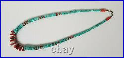 Vtg Navajo Native American Turquoise Spiny Oyster Heishi SterlingSilver Necklace