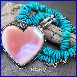 Vtg Navajo Pink Mother of Pearl Heart Turquoise Heishi Sterling Pendant Necklace