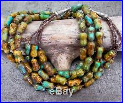 Vtg Old Pawn Navajo Royston Turquoise Multi Strand Heishi Bead Sterling Necklace