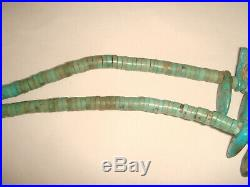 Vtg Old Pawn Santo Domingo Pueblo 23 1/4 Silver Turquoise Heishi Bead Necklace
