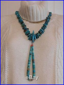 Vtg Old Pawn Santo Domingo TURQUOISE NUGGET Heishi Bead NECKLACE & JOCLA