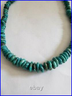 Vtg Pawn NAVAJO Sterling Silver Graduated TURQUOISE HEISHI Disc Bead Necklace