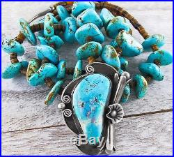 Vtg Pawn Navajo Heishi Nugget Turquoise Squash Blossom Sterling Pendant Necklace