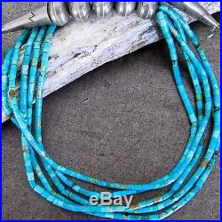 Vtg Pawn Navajo Turquoise Rolled Heishi Stamp Bench Bead Choker Collar Necklace