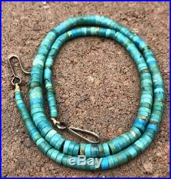 Vtg Santo Domingo HEISHI Royston Turquoise Graduated Disk Bead Necklace 20.5