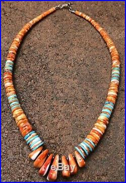 Vtg Santo Domingo Sterling HEISHI Bead Spiny Oyster Turquoise Shell NECKLACE