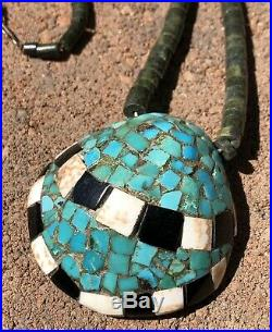Vtg Santo Domingo Sterling SILVER HEISHI Bead Turquoise SHELL PENDANT NECKLACE