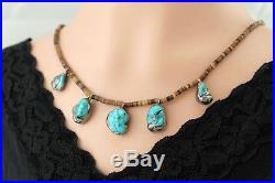 Vtg Sterling Silver Navajo Heishi Bead Turquoise Necklace