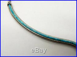 Vtg Sterling Silver Turquoise Heishi Bead Necklace Navajo Signed Eagle Boy Bib