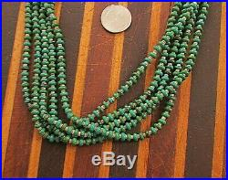 Vtg Sw 5 Strand Green Turquoise Necklace Sterling Cones Shell Heishi