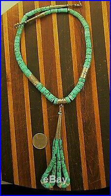 Vtg Sw Turquoise Heishi With Jaclas Necklace Sterling Signed D C C