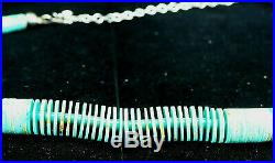 Wafer-thin Turquoise Heishi And Sterling Silver Necklace Kewa