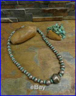 Wow! Navajo Stamped Bench Bead Sterling Heishi Turquoise Pearl Necklace Old Pawn