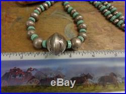 Wow Navajo Stamped Bench Bead Sterling Heishi Turquoise Pearl Necklace Old Pawn
