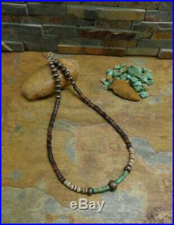 Wow! Navajo Sterling Heishi Turquoise Bench Bead Necklace Old Pawn Harvey Era