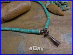Wow Navajo Sterling Heishi Turquoise Bench Bead Squash Blossom Necklace Old Pawn