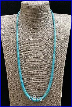 XL Long Santo Domingo Sterling Silver Turquoise Heishi Bead Necklace 28.5 inches