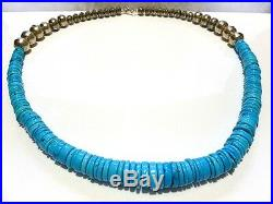 X-large Heishi Turquoise Beads Beaded Sterling Silver Native American Necklace