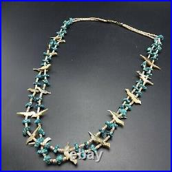 ZUNI Handmade CARVED BIRD Fetish TURQUOISE Beads 2-Strand NECKLACE Shell Heishi