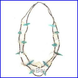 Zuni 2-Strand Carved Bird & Turtle Fetish Necklace Turquoise MOP Heishi Shell