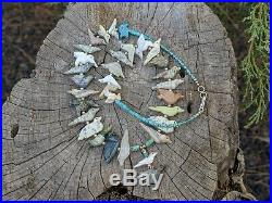 Zuni Animal Fetish Necklace Turquoise Natural Shell Heishi Beads Native American