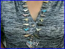 Zuni Fetish Necklace Turquoise Heishi Native American Hand Made Jewelry Western