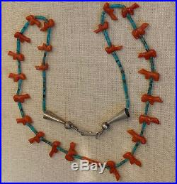 Zuni Natural Carved Coral Bear Fetish and Turquoise & Coral Heishi Necklace 23L