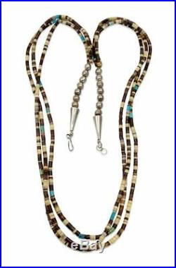 Zuni Pin Shell Turquoise Heishi 3 Strand Vintage Necklace
