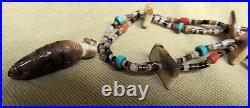 Zuni Quandelacy Family Necklace Coral Turquoise Heishi Hand Carved Corn Maiden