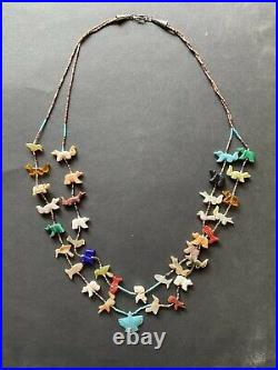 Zuni Silver Turquoise Heishi Carved Animal Fetish Double Strand Necklace