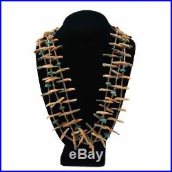 Zuni Three-Strand Turquoise, Spiny Oyster and Heishi Bird Carving Necklace